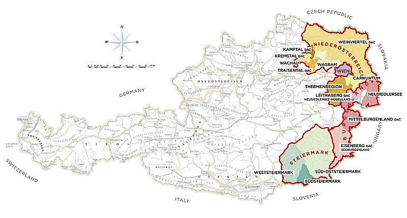 wijnkaart oostenrijk