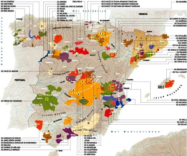 wijnkaart Spanje